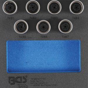 Werkstattwageneinlage 1/6: Felgenschloss-Werkzeug-Satz für Opel (Typ D) | 7-tlg. zur Demontage und Montage von Opel Felgenschlössern (Typ D)
