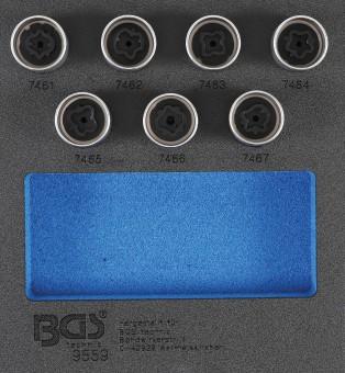 Werkstattwageneinlage 1/6: Felgenschloss-Werkzeug-Satz für Opel (Typ D)   7-tlg. zur Demontage und Montage von Opel Felgenschlössern (Typ D)